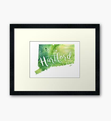 Connecticut Watercolor Map - Hartford Hand Lettering  Framed Print