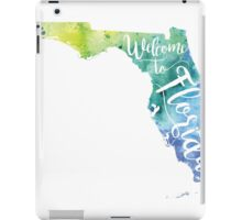 Florida Watercolor Map - Welcome to Florida Hand Lettering - Giclee Print of Original Art iPad Case/Skin