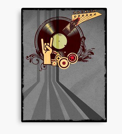 Rock Music Vinyl Record Collage 1 Canvas Print