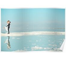 Bride & Groom picture - taken in dead sea - lowest point on earth! Poster