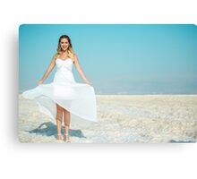Bride picture in her wedding day - taken in dead sea - lowest point on earth! Canvas Print