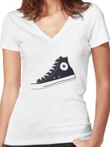 All Star Inspired Hi Top Retro Sneaker in Navy Blue Women's Fitted V-Neck T-Shirt