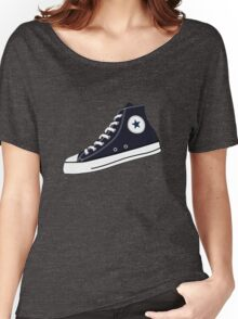 All Star Inspired Hi Top Retro Sneaker in Navy Blue Women's Relaxed Fit T-Shirt