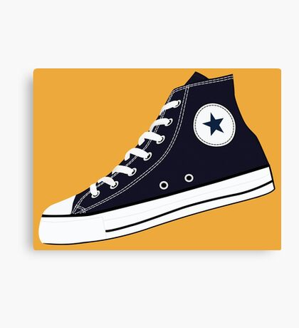 All Star Inspired Hi Top Retro Sneaker in Navy Blue Canvas Print