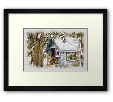 Frosted gingerbread shed Framed Print