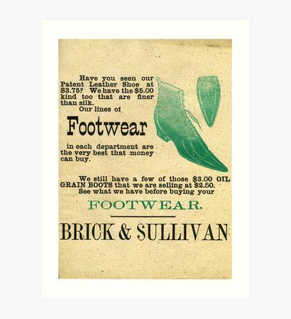 FOOTWEAR, BRICK & SULLIVAN  Art Print