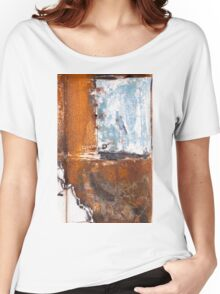 Blue Patch on Rust Women's Relaxed Fit T-Shirt