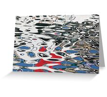 Blue and Red Water Swirls Greeting Card