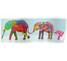 3 Colorful Elephants Holding Tails - Pop Art Poster