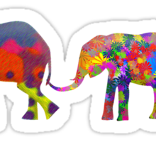 3 Colorful Elephants Holding Tails - Pop Art Sticker