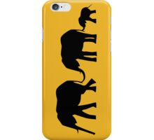 Silhouettes of 3 Elephants Holding Tails iPhone Case/Skin