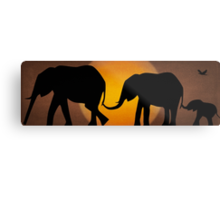Silhouettes of 3 Elephants Holding Tails Metal Print
