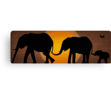 Silhouettes of 3 Elephants Holding Tails Canvas Print