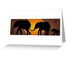 Silhouettes of 3 Elephants Holding Tails Greeting Card