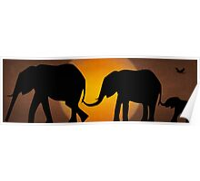 Silhouettes of 3 Elephants Holding Tails Poster
