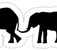 Silhouettes of 3 Elephants Holding Tails Sticker