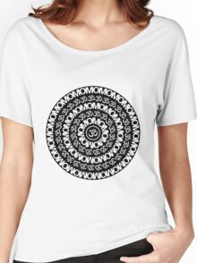 OM & ॐ Black Pattern Women's Relaxed Fit T-Shirt