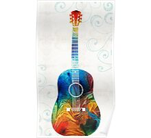 Colorful Guitar Art by Sharon Cummings  Poster