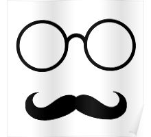 Hipster - Mustache and Glasses (Black) Poster