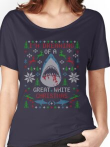 Dreaming of a GREAT WHITE SHARK UGLY CHRISTMAS Women's Relaxed Fit T-Shirt