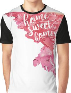 Maryland Watercolor Map - Home Sweet Home Hand Lettering - Giclee Print of Original Art Graphic T-Shirt