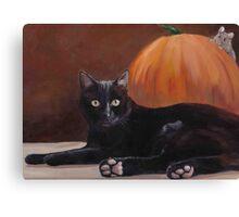 Sneak Peek Black Cat & Pumpkin Canvas Print
