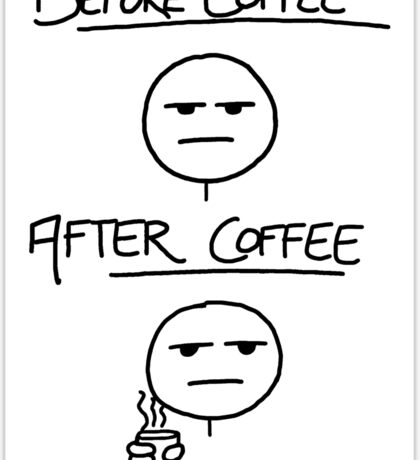 Before Coffee After Coffee Sticker