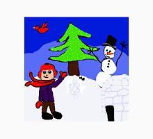 winter playground snowman igloo n boy Unisex T-Shirt