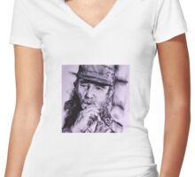 Ink Pen Portrait of Fidel Castro Women's Fitted V-Neck T-Shirt
