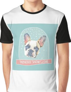 Frenchie Snow Globe featuring Mimi Latte the French Bulldog Posters and Art Graphic T-Shirt