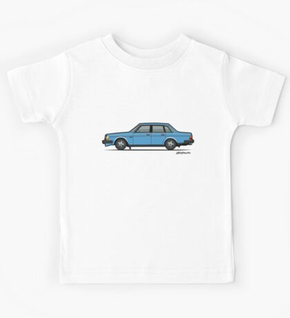 Volvo Brick 244 240 Sedan Brick Blue Kids Tee