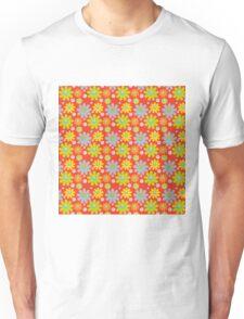 Blue Yellow Orange Flowers on Red Background Unisex T-Shirt