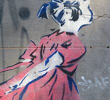Fitzroy - Bansky-esque little girl stencil by Maureen Keogh