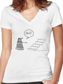 Shit Dalek Women's Fitted V-Neck T-Shirt