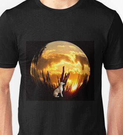 Puppy Circle Sunset Unisex T-Shirt