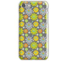 Colorful Floral Pattern on Gray Background iPhone Case/Skin