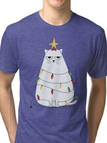 Grumpy Christmas Cat Tri-blend T-Shirt