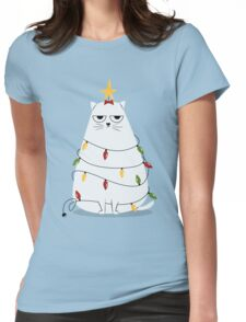 Grumpy Christmas Cat Womens Fitted T-Shirt