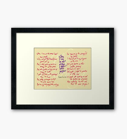 The Warning - When I am an old woman I shall wear purple Framed Print