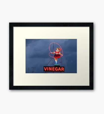 Skipping Girl Cloudy Framed Print