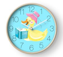 Mother duck reading story time Clock