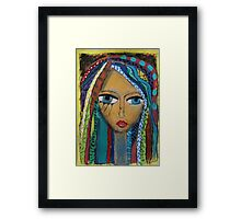 Girl with coloured hair Framed Print