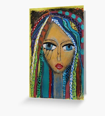 Girl with coloured hair Greeting Card