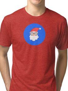 Santa on Blue Tri-blend T-Shirt