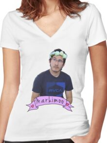 Markiplier (Level: Flower crown) Women's Fitted V-Neck T-Shirt