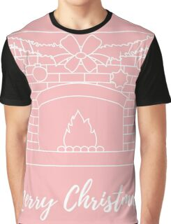Vector illustration with kindled fireplace, garland, Christmas balls and stars. Graphic T-Shirt