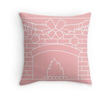 Vector illustration with kindled fireplace, garland, Christmas balls and stars. Throw Pillow
