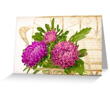 Asters In Tray - Digital Art Oil Painting Greeting Card