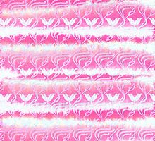 Hand-Painted Pink Watercolor Girly Waterlilies Pattern by Beverly Claire Kaiya