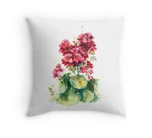 The red geranium . Watercolor .  Throw Pillow